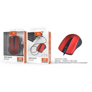 Mouse with Cable 1.4M, Red,...